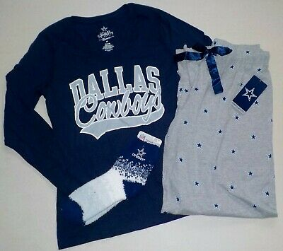 b319eea767 Dallas Cowboys Women s Sleep Lounge Set T Shirt Pants Socks Pajamas S M L  Xl Nwt
