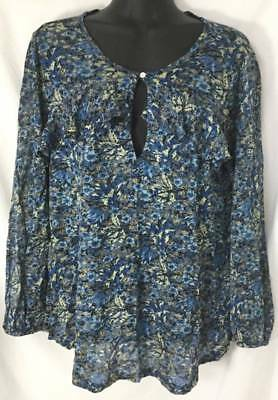 Lucky Brand Blouse Top Medium 8 10 Blue Floral Tunic Ruffle Long Sleeve 4553