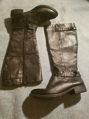 5257599d5f0 STEVE MADDEN SAGAN Boots Black Suede Leather Women's Size 9 1/2 NWOB ...