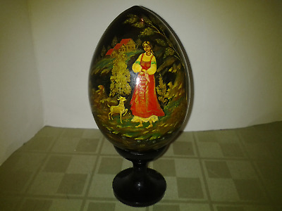 VTG Russian Solid Wood Hand Painted & Lacquered Women & Goat Easter Egg w Stand