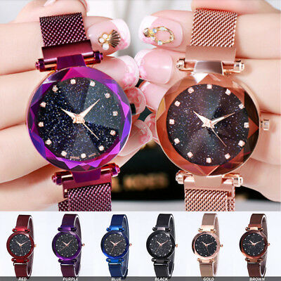 Charm Multicolor Starry Sky Watch Leather/Stainless Magnet Watch Band Wristwatch