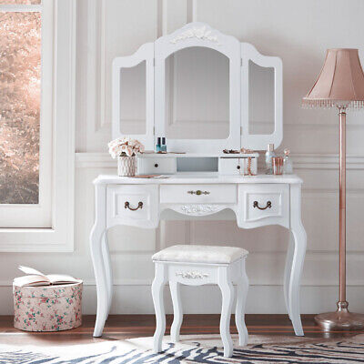 Tri Folding Mirror White Wood Vanity Set Makeup Table Dresser 5 Drawers + Stool
