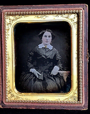 1/6 Plate Daguerreotype - Pretty Lady Holding Case Or Book - In A Rare Stag Case