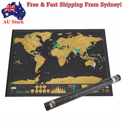 AU Scratch Off Map Deluxe World Travel Poster Personalized Travel Atlas Journal