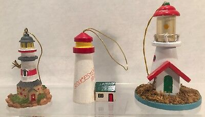3 Vintage Lighthouse Ornaments Including 1984 Kurt S Adler