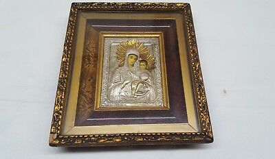 Antique icon Orthodox ? Cozia monastary Silver Sterling ? Holy Virgin Mary
