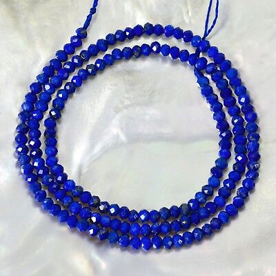 "15.5"" Royal Blue LAPIS LAZULI Bead Strand 3 mm Faceted Gemstone 25.8 ct"