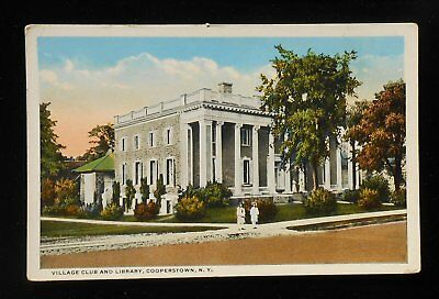 1910s Village Club and Library Cooperstown NY Otsego Co Postcard New York
