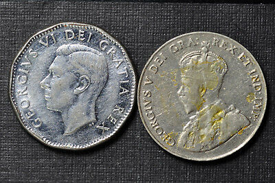 Canada Nickel Five Cents 1927 and 1951, LOT OF 2
