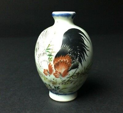 Antique 19 C. Chinese Porcelain Rosters Snuff Bottle Marked.