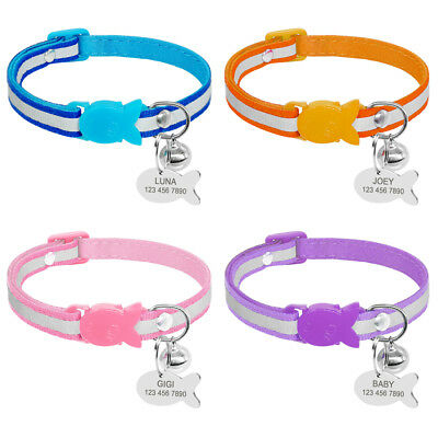 Reflective Safety Quick Release Cat Breakaway Collar with Personalised Cat IDTag