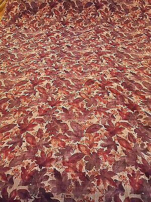 "Thanksgiving autumn fall leaf print polyester weave tablecloth 54"" x 100"" vtg"