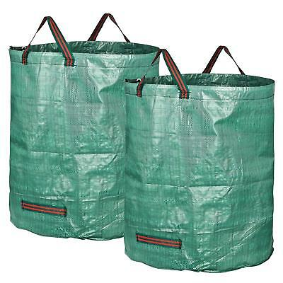 2x Large 270L Reusable Garden Waste Bag Rubbish Sack Waterproof Heavy Duty Green