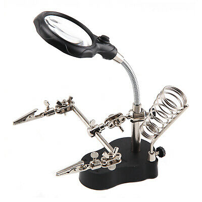 New Am-Tech Soldering Iron Stand & LED Helping Hands Magnifying Glass & Clip UK