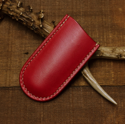 jackknife fold knife sheath scabbard case bag cow leather customize red Z1021