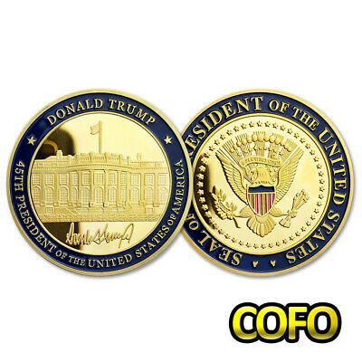 Donald Trump the 45th President Signature & White House Gold Challenge Coin
