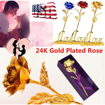 24K Gold Plated Rose Flower Romantic Valentine's Day Christmas Birthday Gift US