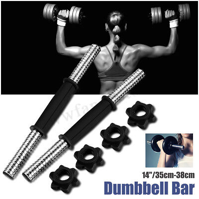 14'' Solid Steel Dumbbell Bar Barbell Pair Gym Exercise For Weight Set Home AU
