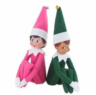 USA Set of 2 Girl and Boy Set Elf Dolls Kids Toy Red Christmas Gift Blue Eyed