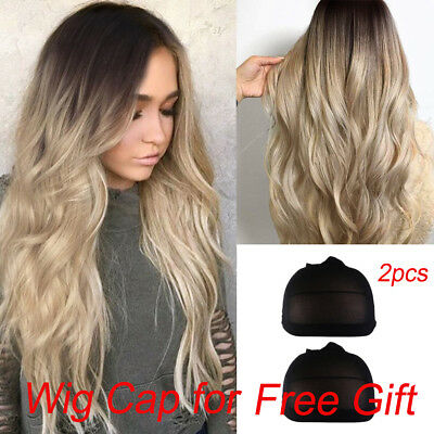 Women Sexy Gradient Blonde Party Wigs Long Curly Hair Mixed Colors Pop