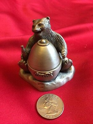 Coca Cola Pewter Bear W/honey Pot Coke Collectable Pewter