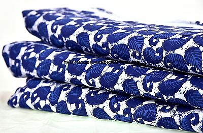 "44"" Wide Crafting Indigo Blue Fabric 10 Yard Indian Paisley Printed Dress Cloth"