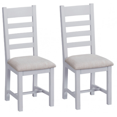 Tenby Grey Painted Furniture Ladder Back Dining Chairs with Fabric Seat PAIR