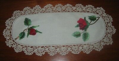 Vintage Sandwich Tray Doily~Roses/beautifully Hand Embroidered~Lace Edge~Linen