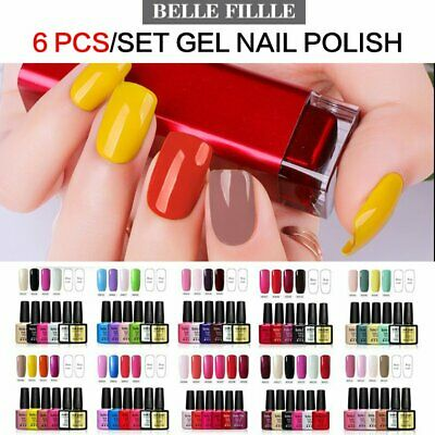 Belle Fille 6 Colors Set UV LED Gel Nail Polish Top Base Coat AU Stock with Box