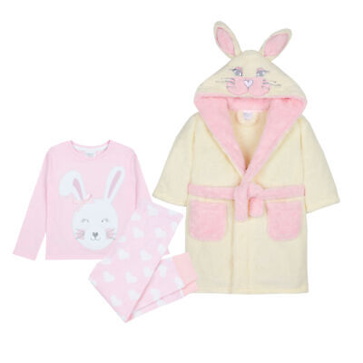 Girls Bunny Rabbit Pyjama Nightwear Gift Set Dressing Gown Robe Cotton Fluffy