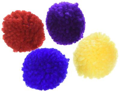 Ethical Pet Spot Wool Pom Poms 4 count | Colorful Cat Toys with Catnip
