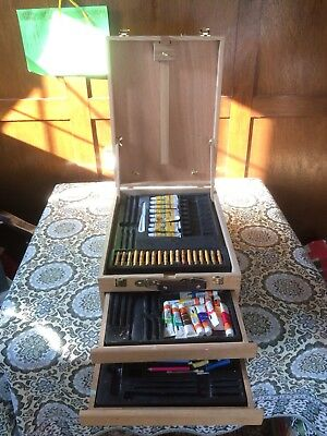 Wooden Easel Foldable with Deep Double Drawers & Carry Handle paints and crayons