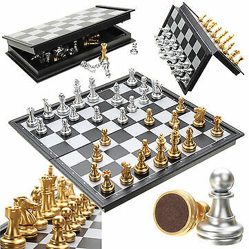 Chess Game Silver Gold Pieces Magnetic Foldable Board Contemporary Set