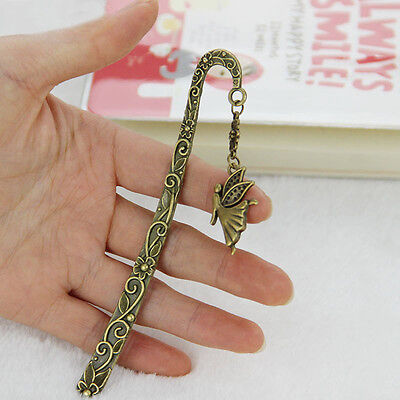 Hot 2X Vintage Bookmark Mermaid Beaded Fairy Butterfly Retro Metal Bookmarks
