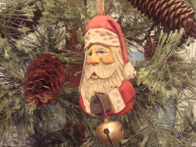 Hand Carved Basswood Traditional  Rustic Santa Holding Bell  Ornament By Artist