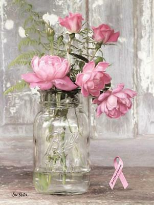 """Handmade Primitive Picture Wall Art by Lori Dieter """"Pink Roses for Breast Cancer"""