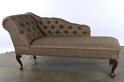 Nutmeg Buttoned Fabric Chaise Longue