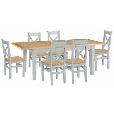 Tenby Grey Painted Furniture 1.6m Extending Dining Table & 6 Cross Back Chairs