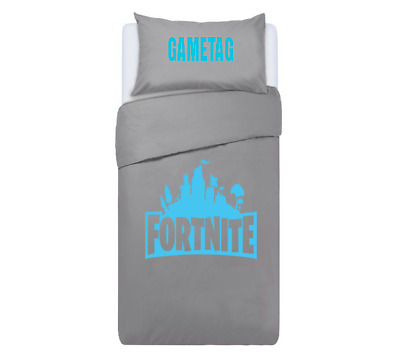 FORTNITE Personalised DUVET COVER BEDDING SET ** GREY & BLUE** PS4 / XBOX ONE