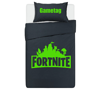 FORTNITE Personalised DUVET COVER BEDDING SET ** BLACK & GREEN** PS4 / XBOX ONE