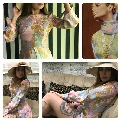 Fantastic 60s Sparkly Pink Play suit Twinset Shorts Tunic Twiggy Boho Festival 6