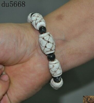 China Chinese old jade Openwork carving amulet Bracelet Bangle Hand Chain