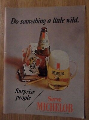 1970 Print Ad MICHELOB Beer ~ Do Something A Little Wild. Playing Cards JOKER
