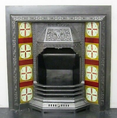 "Antique Victorian 36""x38"" Tiled Insert Fireplace with Original Victorian Tiles"