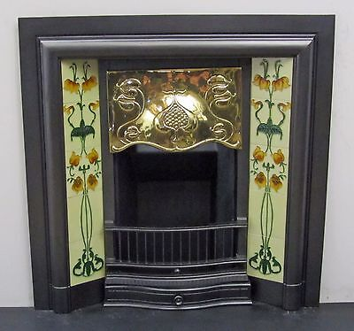 "Victorian / Art Nouveau  38""x38"" Tiled Insert Fireplace with Brass Canopy"