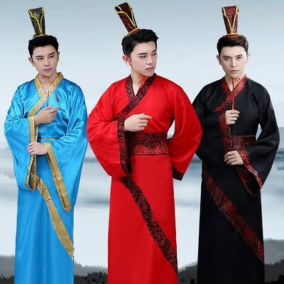 Mens Hanfu Dress Chinese Ancient Clothes Tang Dynasty Performance Outfit Cosplay
