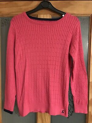 Girls Joules Pink Cable Jumper, Age 11-12 Years, Excellent Condition