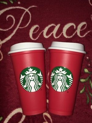 2 STARBUCKS HOLIDAY RED REUSABLE CUP 2018 Limited Edition with DRINK DISCOUNT