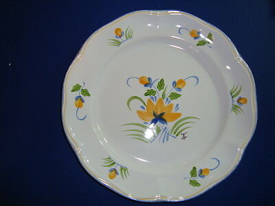 """French hand painted faience plate by Pornic, Brittany, Diameter 10.5"""""""