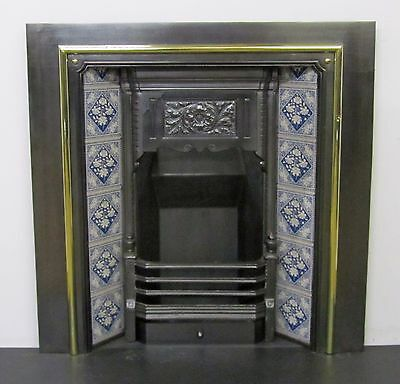 "Victorian Cast Iron 38""x38"" Tiled Insert Fireplace with Brass Detail"